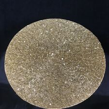 SET OF 2 Nicole Miller ROUND GOLD BEADED / SEQUIN CHARGERS - NEW