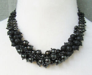 Lia Sophia Jewelry Black Beads Necklace in Hematite