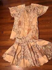 Vintage Beige LONG EVENING GOWN Dress Lace cape Costume Festival Size 4