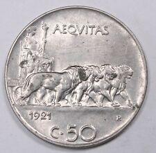 1921 R Italy 50 Centesimi Vittorio Emanuele 747H