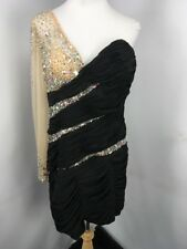 NWT May Queen Couture 1-Shldr Black Ruched Beaded Sequin Evening Dress PLUS 18