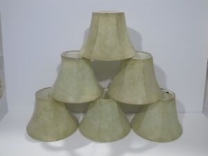 6 Faux Leather Mini Chandelier Lamp Shades Bell Softback 7x5x3.5 Set Lot