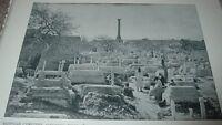 1892 Antique Print EGYPTIAN CEMETERY ALEXANDRIA EGYPT Pompey's Column Photo