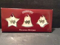 Johnson Bros Holly and Berries Christmas Ornaments Star, Bell, Tree
