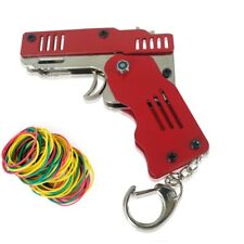 Red Rubber Band Gun Mini Metal Folding 6-Shot  with Rubber Band 100+