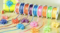 "1/8"" 50 Yards Organza Iridescent Center with String Pull Ribbon Bow"