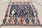 1900's ANTIQUE EXCEPTIONAL MAFRASH BAG FACE WITH GREAT COLORS FLAT WOVEN KILIM