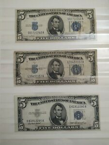 3 banknotes Lincoln five dollars 1934/1953