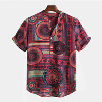 Mens Hawaiian Floral Short Sleeve T Shirts Printed Summer Beach Casual Tops Tees