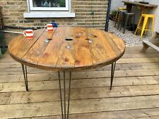120cm Wooden Round Industrial Dining Garden Table Cable drum Upcycled Bespoke
