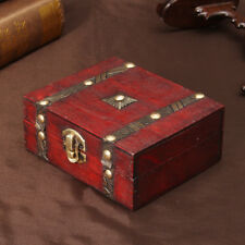 Wooden Jewelry Box Storage Vintage Treasure Chest Wood Crate Case Gift USA