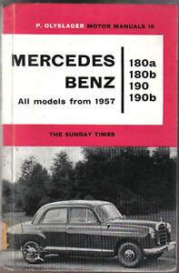 Mercedes Benz 180a 180b 190 & 190b Ponton from 1957 Olyslager Motor Manual 1962