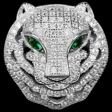 Sterling Silver 925 Genuine Lab Created Diamond Tiger Design Ring Size T US 9.75
