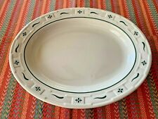"Longaberger Pottery Woven Traditions Heritage Green 12"" Oval Serving Platter"