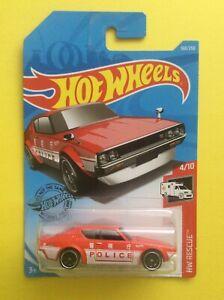 1:64 Hot Wheels Nissan Skyline 2000 GT-R (1972 Police Car) HW Rescue 2019