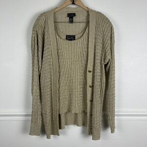 Vintage Suzelle Gold Button Front Cardigan and Top Size Large Made in Hong Kong