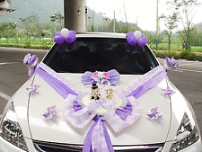 Wedding Car Decorations kit Purple Teddy bear Dolls Ribbon Garland balloons