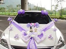 Wedding Car Decorations kit Purple Teddy bear Dolls Ribbon Garland balloons
