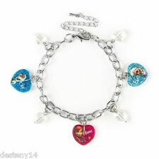 Disney Princess Frozen Characters Glitter Hearts Charm Bracelet Anna Elsa Olaf