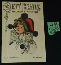 1919 - THE GAIETY - THEATRE - BROADWAY, NY - PROGRAM + TICKET STUB - ORIGINAL