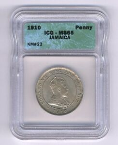 JAMAICA  1910  1 PENNY  COIN, GEM CHOICE UNCIRCULATED, ICG CERTIFIED MS-65