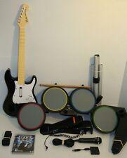 PS3 Rock Band Drums Set, Fender STRAT Wireless Guitar, DONGLE, Mic, Sticks, Game