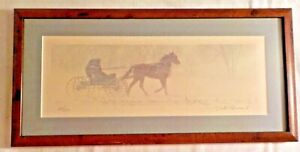 Framed Photo by Dick Brown S/N Amish Horse Carriage in Snow