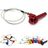 "22mm 7/8"" Handlebar Motorcycle Red CNC Throttle Turn Grip Quick Twister + Cable"