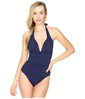 Tommy Bahama Women's Pearl Navy Blue V-Neck One-Piece Swimsuit 7815 Size 16