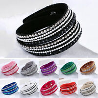 Fashion Leather Wrap Wristband Cuff Punk Crystal Rhinestone Bracelet Bangle Ey