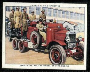 Tobacco Card, Churchman, THE RAF AT WORK, 1938, Driver Fire Engine, #39