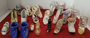 Lot of 22 Mini Vintage Japan,German, Limoges Boots and Shoes Ceramic Multi Color