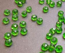 30 perles 6x4mm à facettes verre vert émeraude //5
