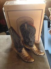 J Chisholm Handcrafted Womens Leather & Snake Skin Cowboy Boots Size 5 1/2 W/box