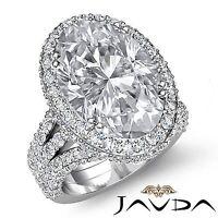 Halo Pave Oval Diamond Vintage Engagement Ring GIA I VS2 18k White Gold 3.65ct