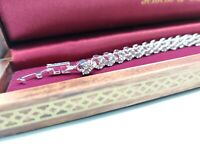 White gold finish heart cut created diamond bracelet gift box and gift box