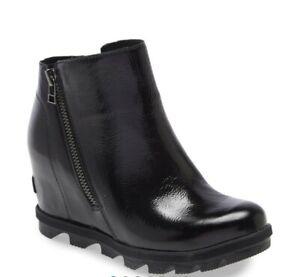 SOREL JOAN OF ARTIC II WATERPROOF Wedge Chelsea Boot Black Patent Women's 6 New
