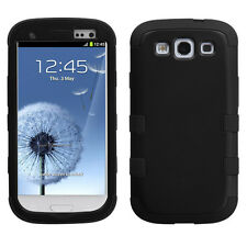 SAMSUNG GALAXY S3 i9300 i747/L710 HARD SNAP ON HYBRID TUFF CASE BLACK