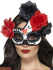 Ac175 Day of The Dead Mexican Senorita Crescent Costume Eye Mask Halloween