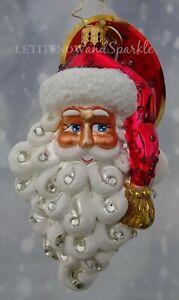 "Christopher Radko Ornaments Cheery Santa Claus Face 3"" Christmas Ornament"