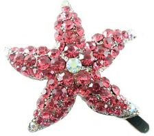 Magnet Hair Clip use Swarovski Crystal Hairpin Starfish Seastar Mermaid PINK