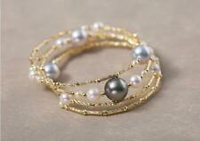 Top Luster AAAA 2-9mm Real natural South sea multicolor round pearl bracelet 18k