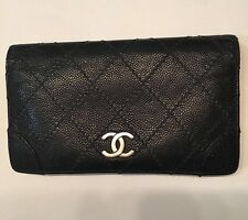 Authentic Chanel Quilted Wallet - Caviar Black Leather