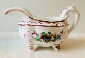 Early Antique Small Pink Luster Pitcher With Fruit Decoration