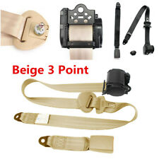 Beige 3 Point Retractable Safety Straps Automatic Car Front Seat Belt Buckle Kit