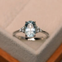 14K Solid White Gold Aquamarine 2.15 Ct Genuine Diamond Wedding Ring Size 6 7