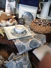 "Pottery Barn Coastal Coral Shell Table Runner Blue 18x108"" Nautilus Seashell"
