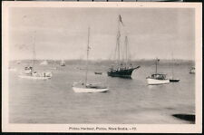PICTOU HARBOUR NS CANADA Docked Sailboats Vintage B&W Postcard