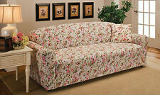 "JERSEY SOFA ""STRETCH"" COUCH, 3 SEATER, SLIPCOVER-----PINK FLORAL----""WASHABLE"""
