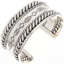 Navajo Hammered Twist Wire Bracelet Heavy Gauge Silver Mens Cuff